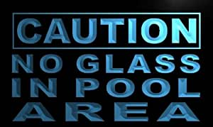 ADV PRO m603-b Caution No Glass in Pool Area Neon Light Sign