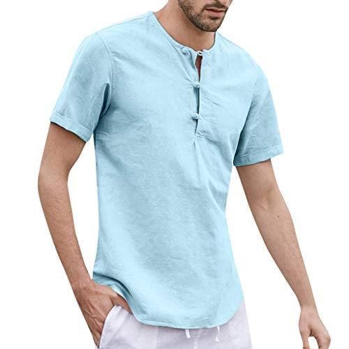 Wendeyipi Men's Linen Cotton Shirt Summer Casual Comfortable Top Solid Color Short Sleeve O-Neck Button T Shirt Blouse Blue
