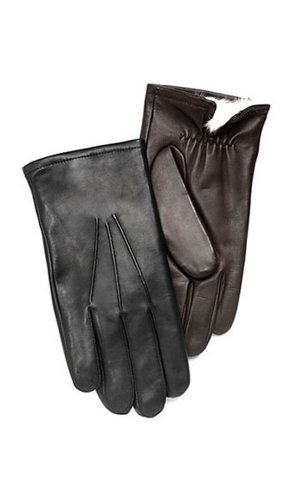 Men's Leather Gloves w/RABBIT FUR lining by GRANDOE, X-Large, Black