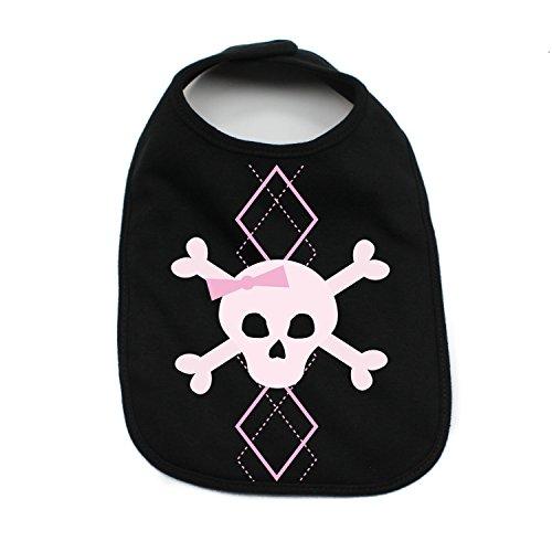Crazy Baby Clothing Girl Pink Argyle Skull and Crossbones Baby Bib