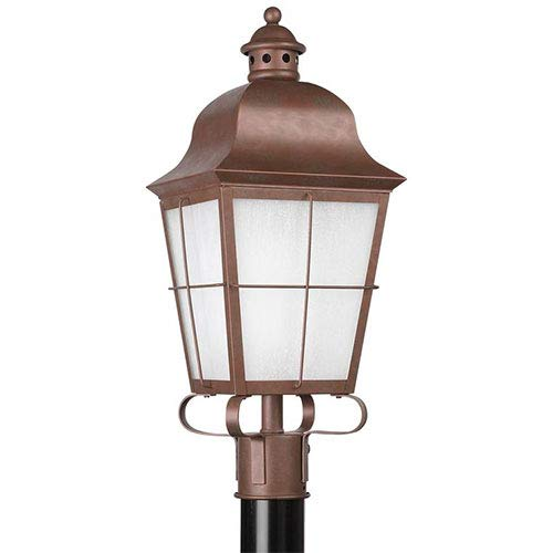 (Sea Gull Lighting 82973BL-44 1-Light Chatham Outdoor Post Lantern, Weathered Copper Finish with Frosted Seeded Glass)