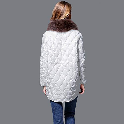 d'hiver Mode Costume Fit Chaude Femmes Slim Vestes en Fourrure M Les De Manteau White WUYEA Collier Duvet qfwCTC