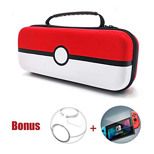 Nintendo Switch Carrying Case, Portable Nintendo Pokémon Travel Case Protective Hard Bag with Clear Pokeball Case & Tempered Glass Screen Guard for Nintendo Console & Accessories (Red & White)