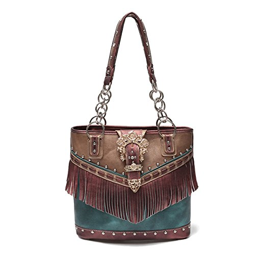 Western Handbag - Gold Buckle Stud Accented with front Fringe Décor Traditional Two-Toned Concealed Carry Tote Bag (Burgundy)