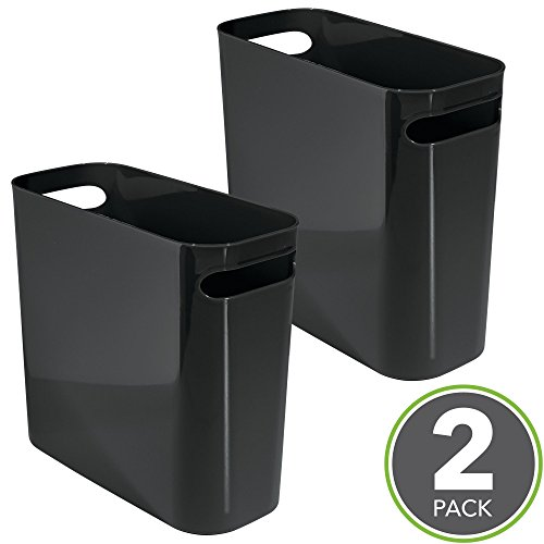 mDesign Slim Rectangular Small Trash Can Wastebasket, Garbage Container Bin with Handles for Bathrooms, Kitchens, Home Offices, Dorms, Kids Rooms — 10
