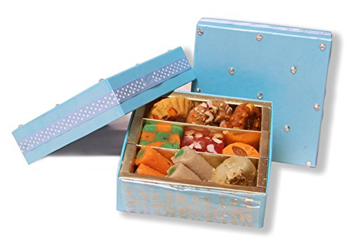 Sukhadia's Indian Sweets Gift Box, Festive Blue Kundan Box, Premium Assorted Mithai, 12oz