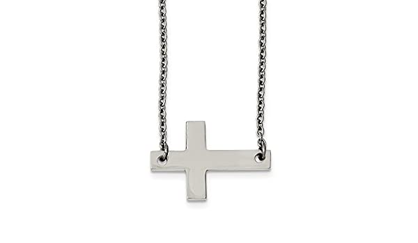19.5 in, Jay Seiler Stainless Steel Polished Sideways Cross Necklace Length
