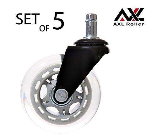 AXL Clear Polyurethane Roller Office Chair Casters - Set of 5 (Black Fork / Grey Rim / Clear Wheel)