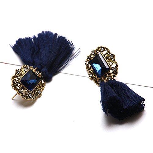SUPERCB Tassel Earrings Tiered Thread Dangle Statement Layered Drop