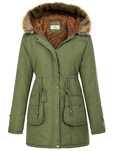 GRACE KARIN Womens Military Hooded Warm Winter Fleece Parkas Anroaks Long Coats CLAF1030-3 S Army Green