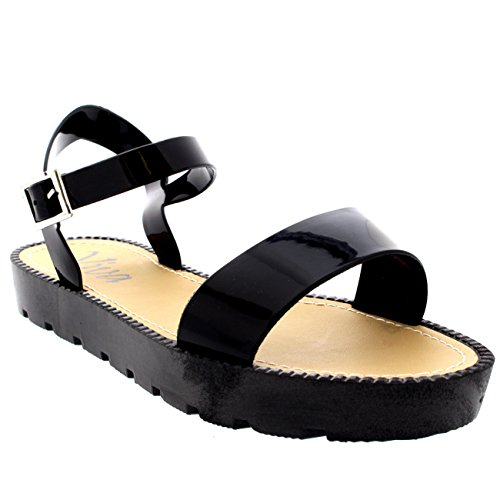Womens Flatform Buckle Peep Toe Wedge Vacation Festival Strappy Sandals - Black - 8 - 39 - CD0129 (Flatform Jelly Sandals compare prices)