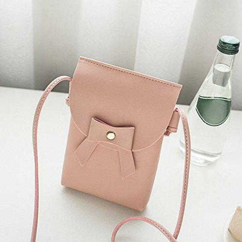 Messenger Bag Symboat PU Leather Women Solid Pink Satchel Crossbody Shoulder Bowknot Bag Color Lady Small qwC7awB