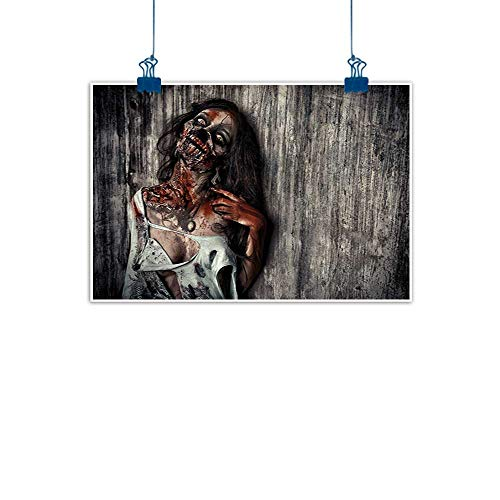 Wall Art Print Home Decor Zombie Decor,Angry Dead Woman Sacrifice Fantasy Mystic Night Halloween Image,Dark Taupe Peach Red for Boys Room Baby Nursery Wall Decor Kids Room Boys Gift 24