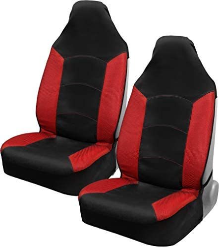 Motor Trend M292 High Back Mesh Garbadine - Red/Black HighBack Car Seat Covers - Breathable Mesh & Garbadine - Two-Fabric Protector