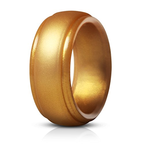 Saco Band Silicone Rings for Men - Single Rubber Wedding Bands (Shiny Gold, 10.5 - 11 (20.6mm))