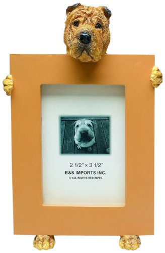 Sharpei Picture Frame Holds Your Favorite 2.5 by 3.5 Inch Photo, Hand Painted Realistic Looking Sharpei Stands 6 Inches Tall Holding Beautifully Crafted Frame, Unique and Special Sharpei Gifts for Sharpei Owners Dog Breed Photo Picture Frame