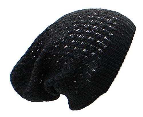AN- Fashion Lightweight Slouchy Airy Cutout Knit Beanie Hat Cap, Many Styles (Black (Beanie With Dreadlocks)