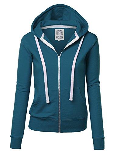 (Come Together California CTC WSK954 Womens Active Fleece Zip Up Hoodie Sweater Jacket XL Teal)