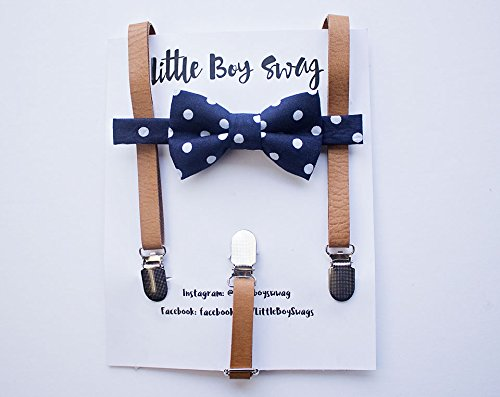 Boys Navy Polka Dot Bow Tie with Tan Leather Suspe…