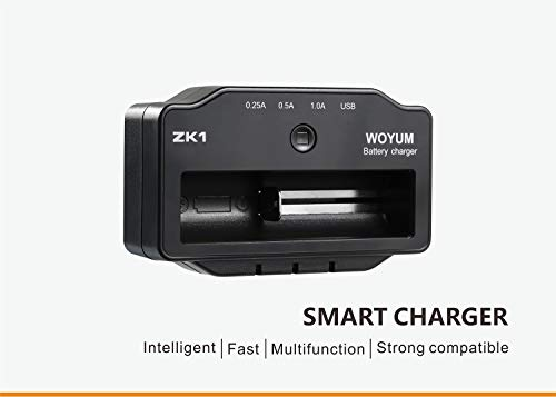 Yeeyum Universal Smart Battery Charger Three Charging Current Indicator Lights 18650 AA AAA Battery Single Slot Battery Charger for Vape Battery