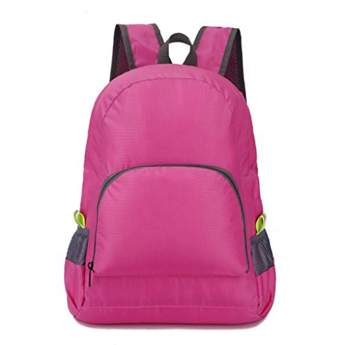 Liu femme sac à dos de sport sac d'escalade pliable en plein air (taille: 32 * 15 40cm) rose