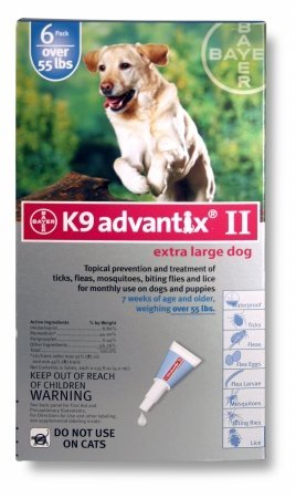 BAYER 004BAY-04461650 K9 Advantix II for X-Large Dogs 55 Plus lbs, Blue - 6 Months
