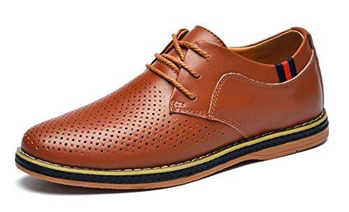 MOHEM Mens Dress Shoes Darren Men's Casual Premium Genuine Leather Lace-up Oxford Shoes(FBA)(1687008Hole-Coffee44) ()