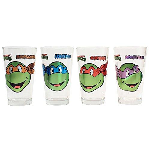 Silver Buffalo NT031P1Z Nickelodeon Teenage Mutant Ninja Turtles Smiley Face Laser Pint Glass Set, 4-Pack