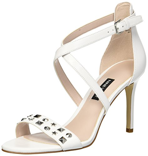 Nine West Women's Maziany Leather Heeled Sandal White Znr9pcLCyR