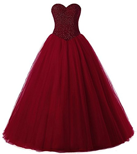 Beautyprom Women's Ball Gown Bridal Wedding Dresses (US18W, Burgundy)