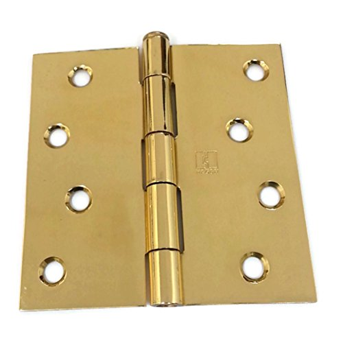 Solid Brass Hinge Square Corners - Hager Solid Brass Door Hinge 1541 4 x 4 US3 Polished Brass, Square Corners, Full Mortise, Residential - 2 per box