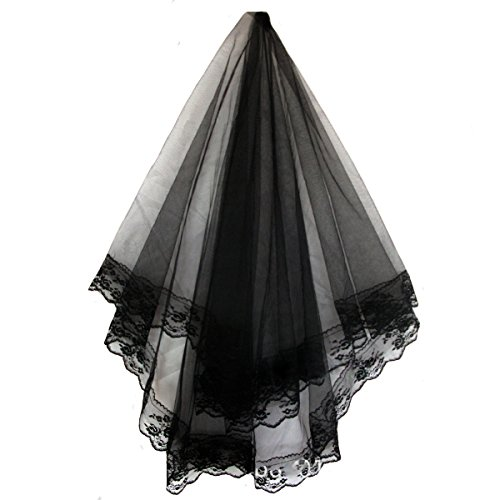 [AliceHouse 1T 1 Tier Black Ivory Lace Edge Bridal Wedding Veil Cathedral MV018] (Black Bridal Veil Costume)