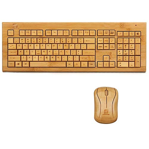 - Wireless Bamboo Keyboard and Mouse Combo(3 Key Pads), Full Size 2.4GHz Wooden Handcrafted Natural Ultra Slim Rechargeable for Windows, Laptop, Notebook, PC, Desktop, Computer, Office by Tbridge
