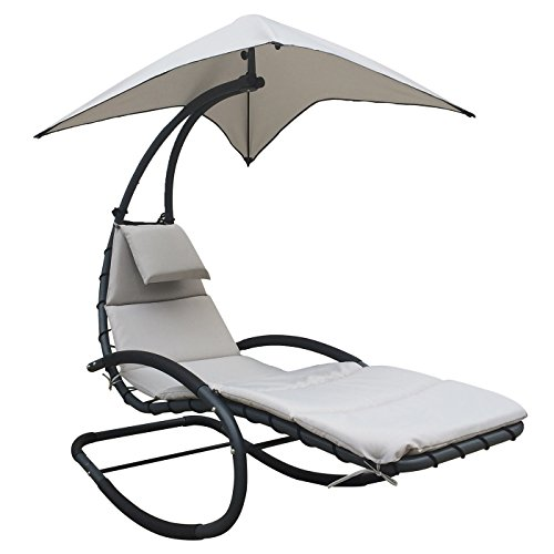 SUN LOUNGER – CHAISE LOUNGE CHAIR PATIO-BACKYARD-OUTDOOR FURNITURE - BONUS ROCKING FEATURE