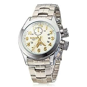 ZA Men's Silver Round Case Steel Band Quartz Analog Wrist Watch (Delivery color random)