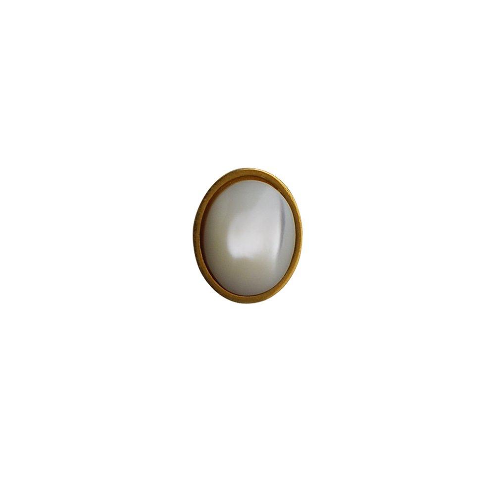 British Jewellery Workshops Hard Gold Plated 12x10mm oval Mother of Pearl Tie Tack TMGBMOPT