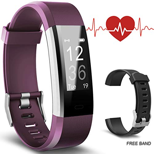 Bicol Fitness Tracker with Heart Rate Monitor, Pedometer for Walking IP67 Waterproof Activity Tracker for Kids Women Men Wristband Bracelet Calorie Counter Smart Watch Bracelet Purple and Black Band