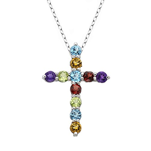 Women's 3MM Round Sterling Silver Genuine Gemstone Cross Necklace (Multi-Color) ()