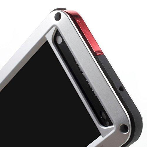 Xperia Z5 caja compacta, aluminio armadura cristal plàstico impermeable anti-smudge resistente al agua resistente cubierta resistente al para Sony Xperia Z5 Compact E5823 (negro), compatible con Sony  plata