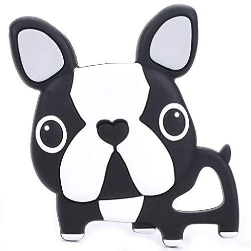 Single Black French Bulldog Silicone Teether Baby Teethers