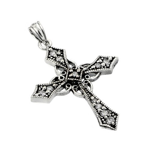 Sterling Silver Celtic Design CZ Cross Pendant