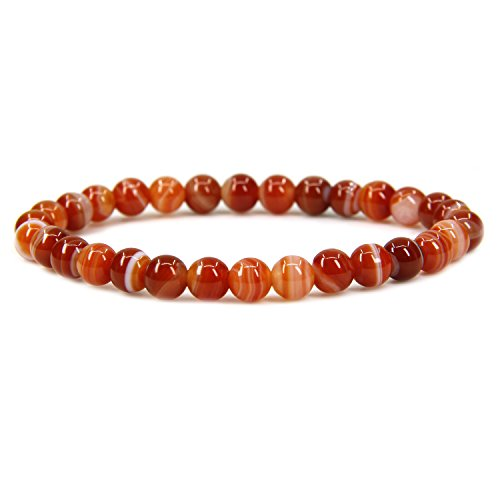 Natural Dream Red Agate Gemstone 6mm Round Beads Stretch Bracelet 7