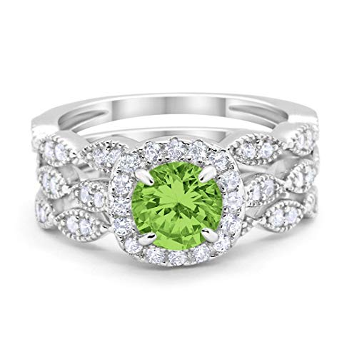 Band Peridot Ring - Blue Apple Co. Halo Art Deco Three Piece Wedding Engagement Bridal Set Ring Band Solid Simulated Peridot 925 Sterling Silver, Size-9