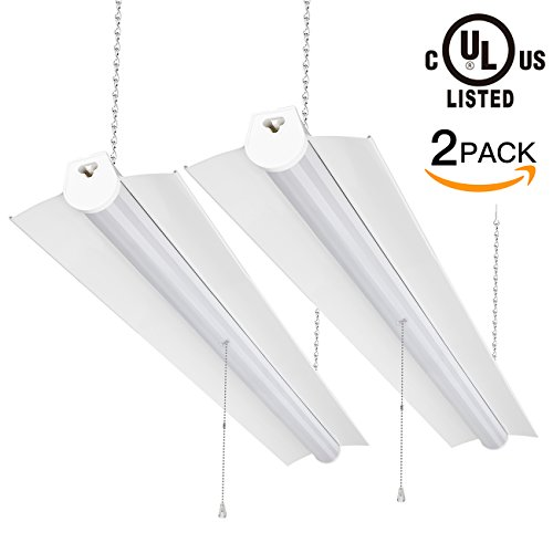 SHINE HAI Utility LED Shop Light, 4ft Integrated LED Garage Lights, 40W(100W Equivalent) 4000K Neutral White, UL-listed Frosted Cover Ceiling Lighting Fixture (2-Pack)