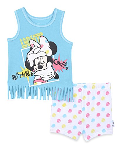 Fringe 2 Piece Set - Disney Baby Girls' Minnie Mouse 2-Piece Knit Fringe Tank and Short Set, Capri, 24m