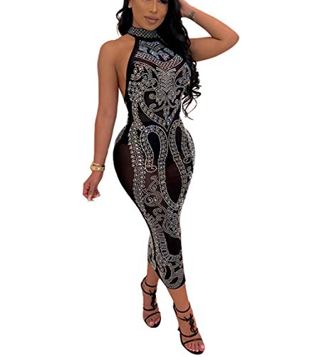 Nhicdns Women's Sexy Halter Neck Rhinestone Mesh See Through Sequins Sheer Bodycon Backless Bodycon Cocktail Mini Dresses