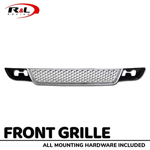 (R&L Racing Chrome Front Grill Round Hole Mesh Lower Bumper Grille Cover 2007-2012 for GMC Yukon/Yukon XL/Yukon Denali/Yukon XL Denali)