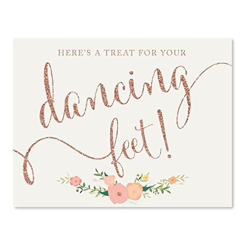 Andaz Press Wedding Party Signs, Faux Rose Gold Glitter with Florals, 8.5x11-inch, Here's a Treat for Your Dancing Feet! Flip Flop Sandals High Heels Shoes Dance Floor Reception Sign, - Flops Sign Flip