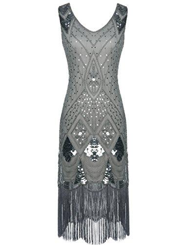 FAIRY COUPLE 1920s Gatsby Vestido con Lentejuelas Embellecido Borlas Dobladillo D20S014 Gris