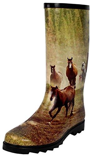amp; Flat Mid Women's Horse Shoes Waterproof Puddles Dev Boots Rain Calf Snow 14 qIFgwO
